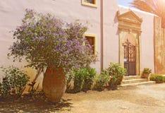 En la isla de Creta, Grecia Flores de la lila en una arcilla grande po fotos de archivo