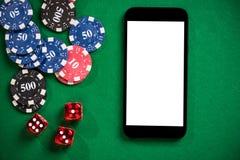 En la línea casino y juegos de póker imite para arriba fotos de archivo
