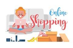 En la línea compras, las mujeres están pidiendo productos en línea del w foto de archivo