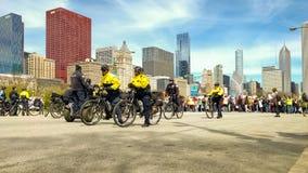 En la línea de frente del marzo para la ciencia en Chicago foto de archivo libre de regalías