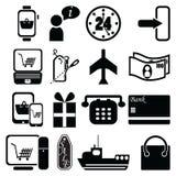 En la línea iconos de las compras empaquete, etiqueta de la venta, avión, envío, pago y envío, móvil de la tableta de la PC, orde Foto de archivo libre de regalías