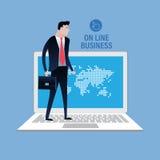 En la línea mundo del negocio Diseño del clip art del vector del ejemplo del concepto del negocio Imagen de archivo libre de regalías