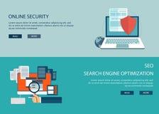 En la línea seguridad y la optimización del Search Engine Fotos de archivo libres de regalías