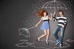 En la lluvia ilustración del vector