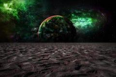 En la luna brillada sobre el mundo imágenes de archivo libres de regalías
