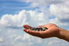 En la mano las monedas sobre el fondo del cielo, concepto de finanzas fotografía de archivo