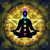 En la meditación ilustración del vector