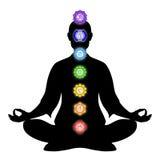 En la meditación con chakras Imagenes de archivo