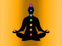 En la meditación con chakras Fotos de archivo