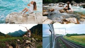 4 en 1: La mujer atractiva joven viaja el mundo almacen de video