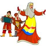 En la mujer nacional rusa del baile del vestido, los hombres juegan el acordeón y la balalaica ilustración del vector