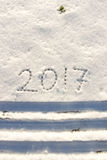 2017 en la nieve por el Año Nuevo y la Navidad Imagenes de archivo