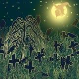 En la noche de Halloween en el cementerio viejo ilustración del vector