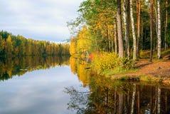 En la orilla del lago Autumn Landscape Imagen de archivo libre de regalías