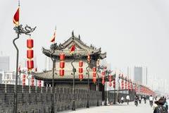 En la pared de Xian, China Imagenes de archivo