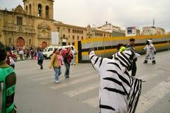 En La Paz, los trabajadores de Bolivia vestidos como cebras enseñan Fotos de archivo