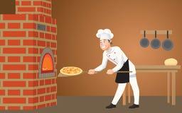 En la pizzería, un cocinero joven, feliz pone una pizza recientemente cocinada en el horno libre illustration