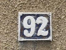 92 en la placa de la casa Fotografía de archivo libre de regalías