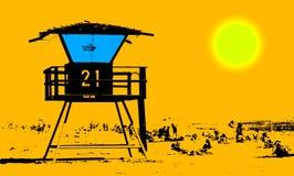 En la playa ilustración del vector