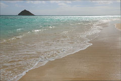 En la playa de Lanikai imagenes de archivo