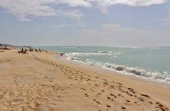 En la playa en el ` Estrac de Caldes d, España Foto de archivo