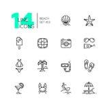 En la playa - línea iconos fijados Imagenes de archivo