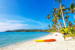 En la playa tropical imagenes de archivo