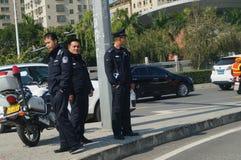 En la policía de tráfico de servicio Foto de archivo libre de regalías
