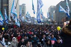 En la protesta de presidente Park Geun-hye Fotografía de archivo libre de regalías