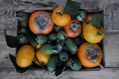 En la tabla en una caja mandarines de un caqui fresco, del feijoa y de la fruta cítrica Imagen de archivo