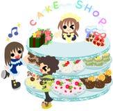 En la tienda dulce con el amante ilustración del vector