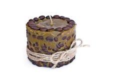 Vela hecha a mano con los granos de café Foto de archivo libre de regalías