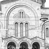 en la vieja arquitectura y el pueblo griego t de Atenas Cícladas Grecia Imágenes de archivo libres de regalías