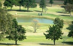 En landskapbild av en golfbana Arkivbilder