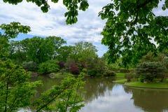 En landskapsikt av den japanska trädgården royaltyfri foto