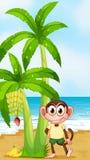 En le apa på stranden nära bananväxten royaltyfri illustrationer