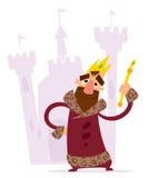 Lycklig tecknad filmkonung framme av hans slott Arkivfoton