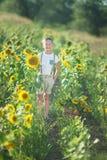 En le pojke med en korg av solrosor Le pojke med solrosen En gullig le pojke i ett fält av solrosor fotografering för bildbyråer