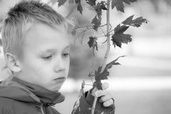 En ledsen och melankolisk pojke royaltyfri bild