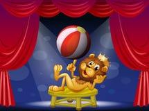 En lejonkonung som utför på etapp stock illustrationer
