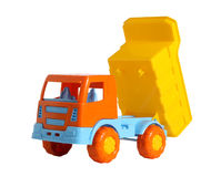 En leksaklastbil med den lyftta förrådsplatskroppen Royaltyfria Bilder