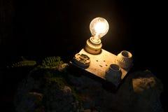 En lightbulb ut ur fyra annan En metafor av det högra beslutet Fotografering för Bildbyråer