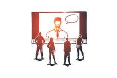 En ligne, apprenant, système, Web, concept de formation Vecteur d'isolement tiré par la main illustration libre de droits