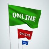 En ligne - drapeaux de vecteur Photos libres de droits