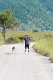 En ligne patinant avec le chien images libres de droits
