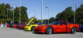 En linje av Corvettes Fotografering för Bildbyråer