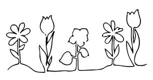En linje designkontur av blommor Royaltyfri Foto