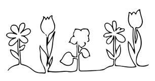 En linje designkontur av blommor Royaltyfri Bild