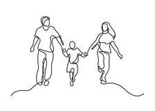 En linje familj stock illustrationer