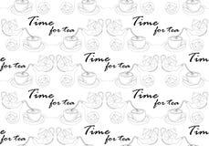 En linje s?ml?s modell tid f?r tea f?r klockalivstid fortfarande ocks? vektor f?r coreldrawillustration vektor illustrationer